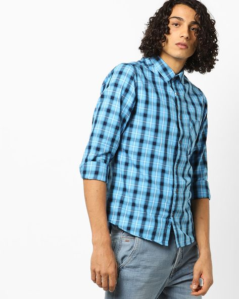 Checked Slim Fit Shirt With Patch Pocket By AJIO ( Blue )