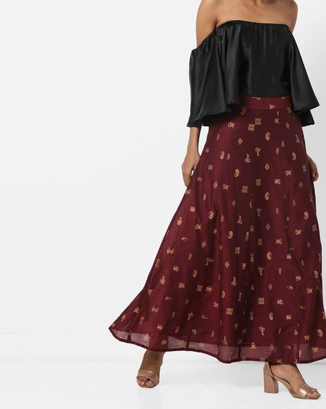 Printed Chanderi A-Line Maxi Skirt By AJIO ( Brown )