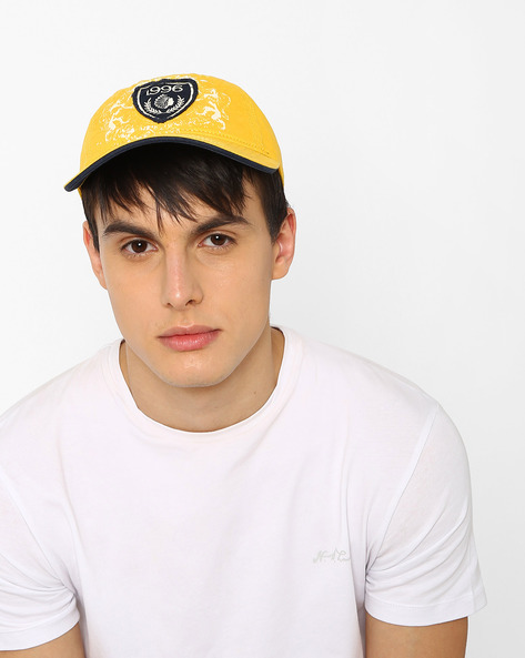 Baseball Cap With Applique Detail By Feathers ( Yellow )