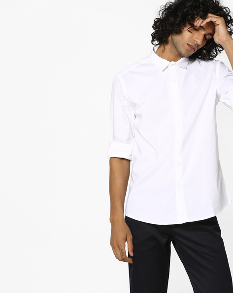 Cotton Slim Fit Shirt By VOI JEANS ( White )
