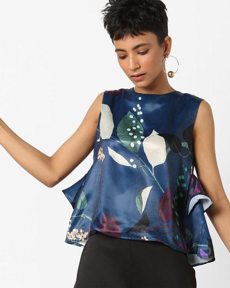 Floral Print Sleeveless Top By AJIO ( Navy )