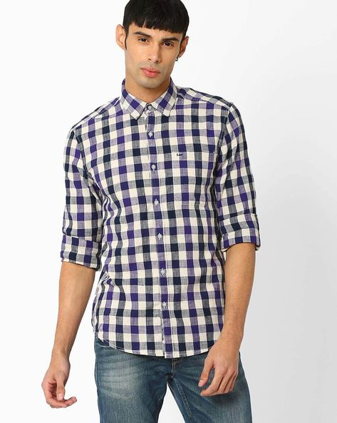 Slim Fit Checked Shirt By Lee ( Purple )