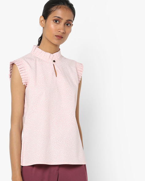 Printed High-Neck Top By AJIO ( Pink )
