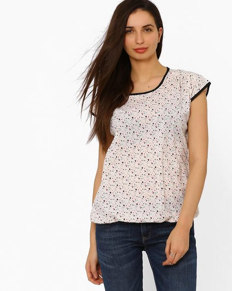 Floral Print Top By Style Quotient By Noi ( Offwhite )