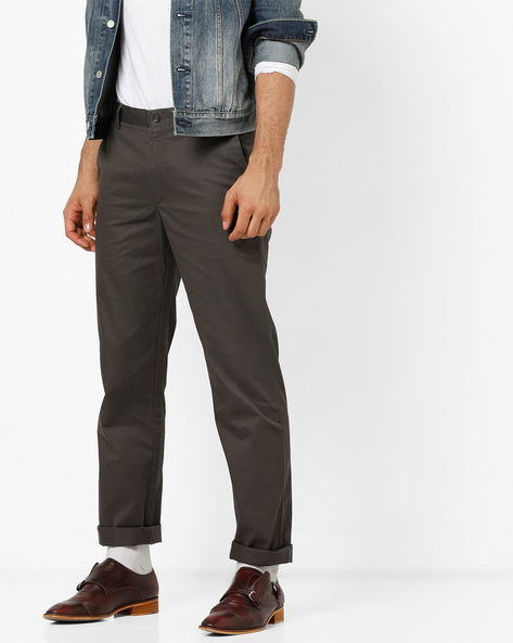 Mid-Rise Flat-Front Trousers By Wills Lifestyle ( Gray )