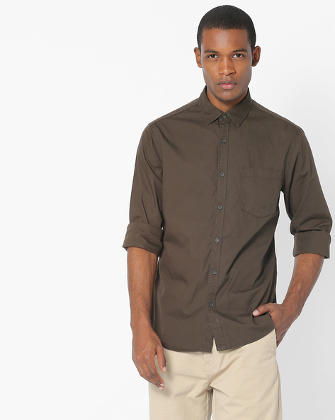 Slim Fit Shirt With Patch Pocket By AJIO ( Olive )