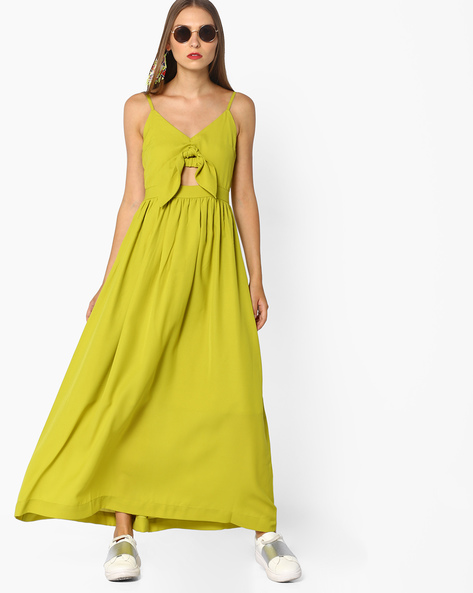 Strappy Maxi Dress With Tie-Up By AJIO ( Limegreen )
