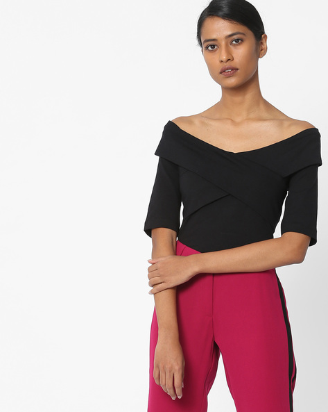 Off-Shoulder Wrap Top By Vero Moda ( Black )