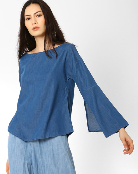 Chambray Top With Curved Hem By AJIO ( Blue )
