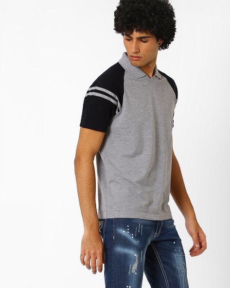 Cut & Sew Slim T-shirt With Raglan Sleeves By AJIO ( Greymelange )