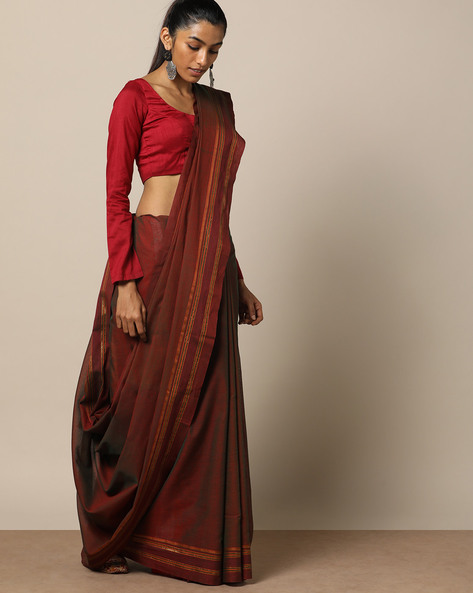 South Cotton Saree With Zari By Indie Picks ( Brown )