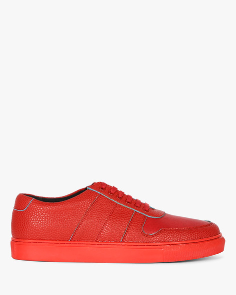 Textured Sneakers With Perforated Upper By Funk ( Red )