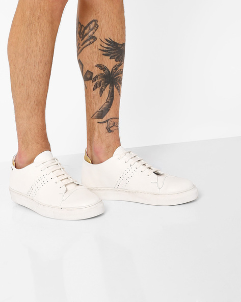 Faux Leather Low-Cut Sneakers By TURN ( White )