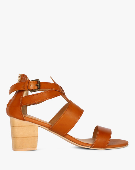 39d38db4730 Strappy Sandals With Chunky Heels By AJIO ( Tan ) Best Deals With ...
