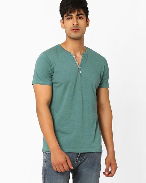 Slub-Knit Henley T-shirt By AJIO ( Green )