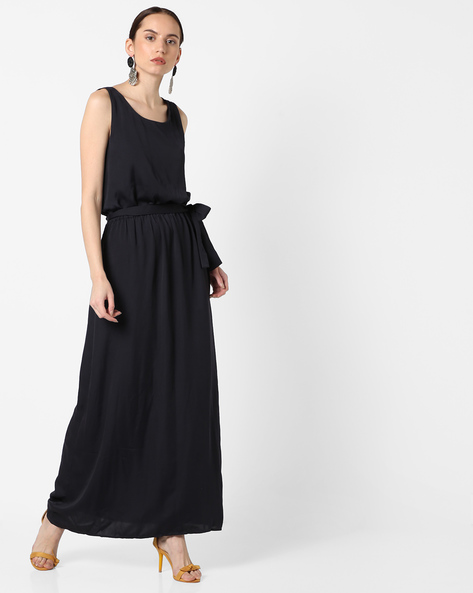 A-line Maxi Dress With Criss-Cross Back By SAINT TROPEZ ( Darkblue )