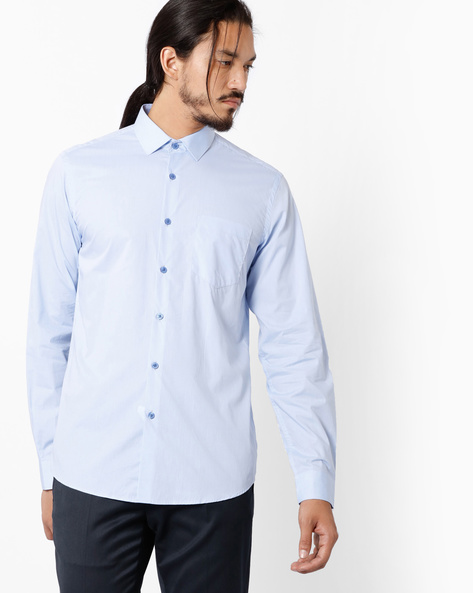 Slim Fit Shirt With Patch Pocket By Black Coffee ( Blue )
