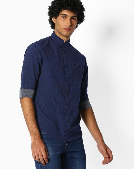 Casual Shirt With Mandarin Collar By Celio ( Darkblue )