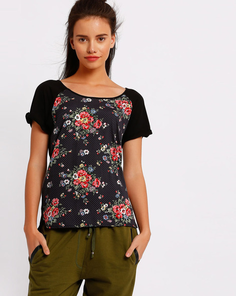 Floral Print Top With High-Low Hem By RIO ( Black )