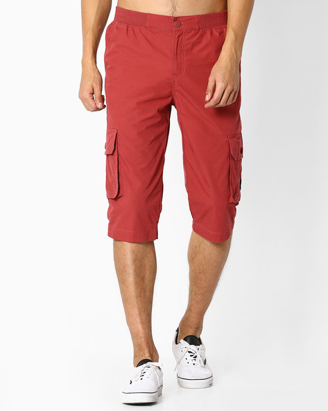 Woven Capris With Pockets By TEAM SPIRIT ( Red )