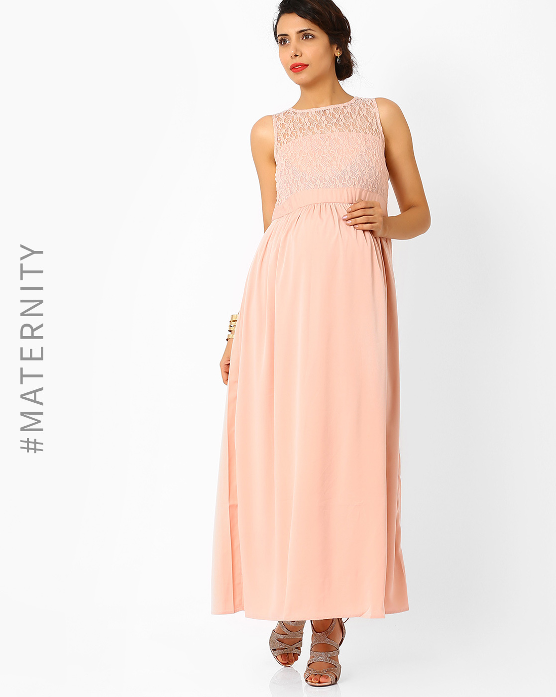 Maternity wear shop tshirts tops dresses shrugs jeans at ajio pink gown maternity maxi dress ombrellifo Image collections