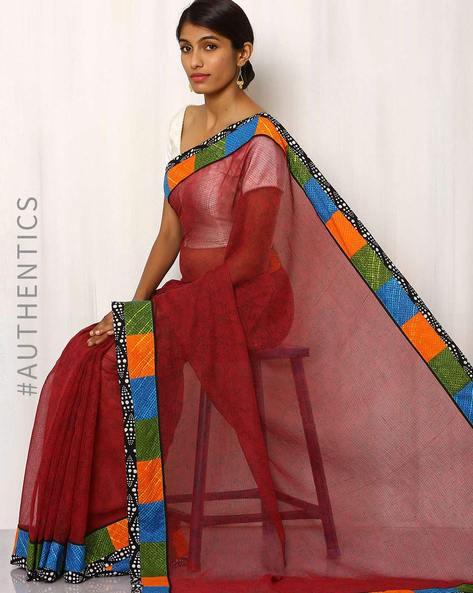 Hand Block Print Kota Saree With Patchwork By Indie Picks ( Maroon )