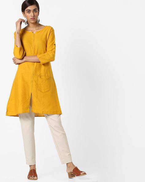 A-Line Kurta With Front-Slit Hem By JASHN ( Yellow )
