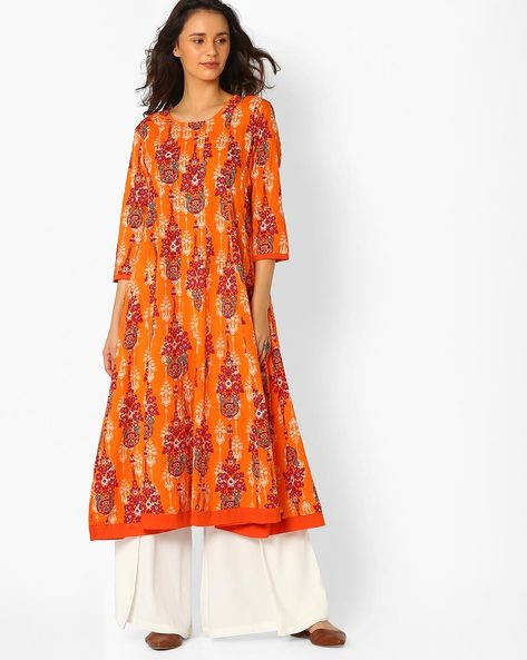Floral Print Anarkali Kurta By Jiyaa ( Orange )