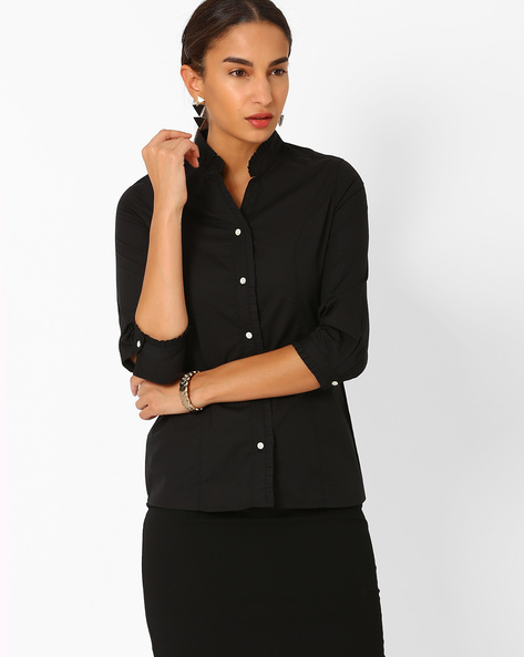 Cotton Shirt With Ruffles By AJIO ( Black )