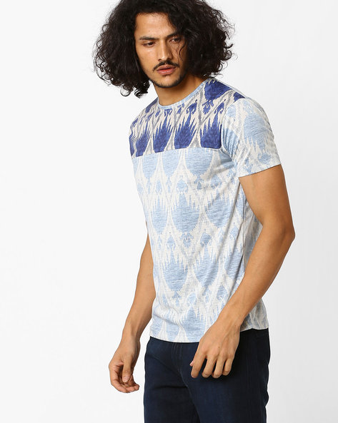 Slim Fit Printed T-shirt By VOI JEANS ( Blue )