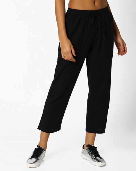 Cropped Pants With Drawstring Fastening By PE IW Casual ( Black )