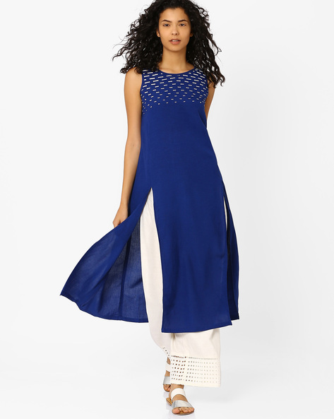 Kurta With Front Slits By Global Desi ( Blue )