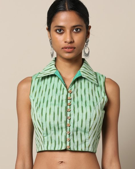 Sleeveless Ikat Cotton Blouse By Indie Picks ( Green )