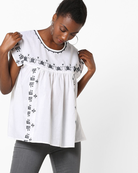Cotton Top With Embroidery By Rena Love ( White )