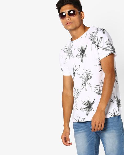 Floral Print Slim T-shirt By AJIO ( White )