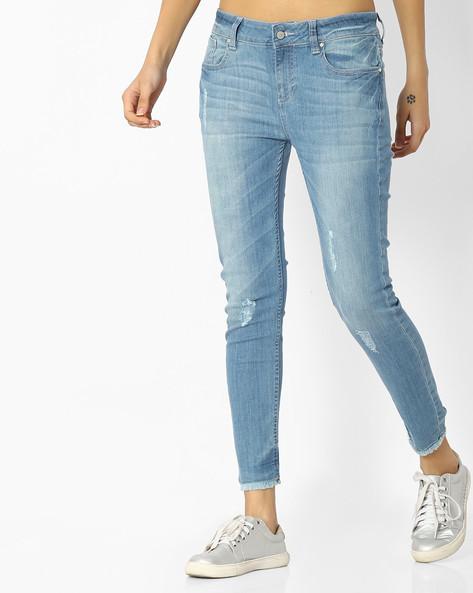 Lightly Distressed Slim Jeans By Blue Saint ( Blue )