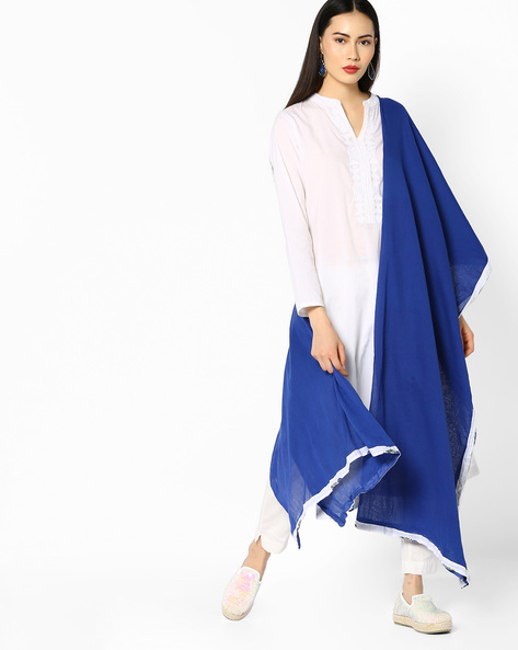 Dupatta With Contrast Printed Border By AJIO ( Blue )