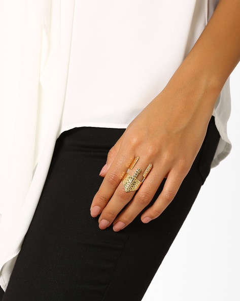 Textured Brass Ring By AJIO ( Gold )