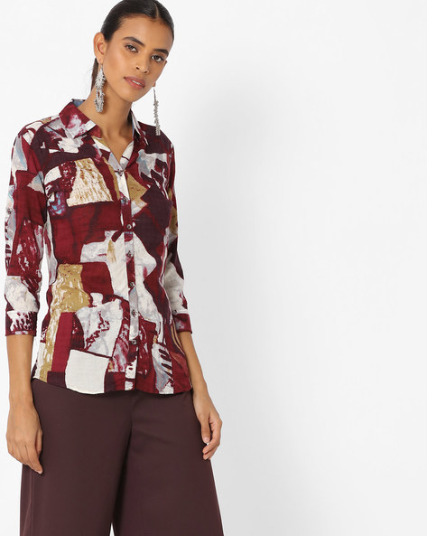 Printed Shirt With Spread Collar By Deal Jeans ( Maroon )
