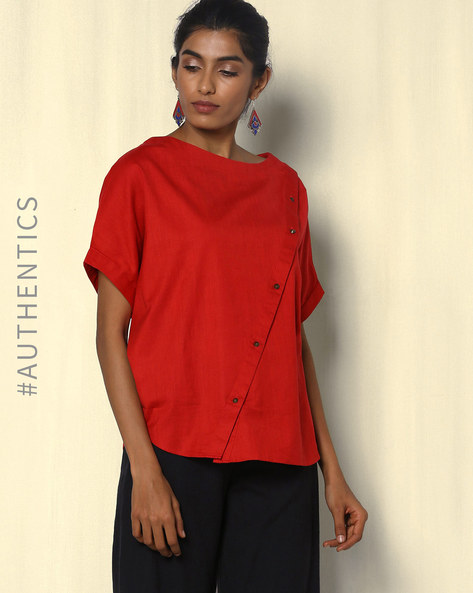 Kaftan Top With Diagonal Button Placket By Red Sister Blue ( Red )