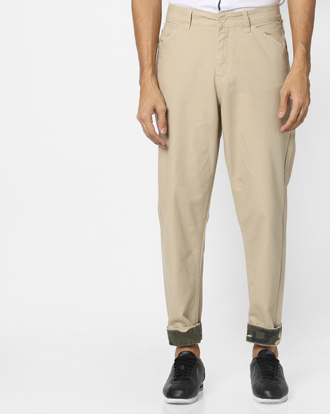 Mid-Rise Jeans With Upturned Hems By Blue Saint ( Khaki )