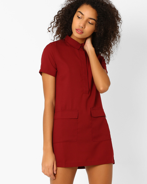 Mini Shirt Dress With Spread Collar By Oxolloxo ( Pink )