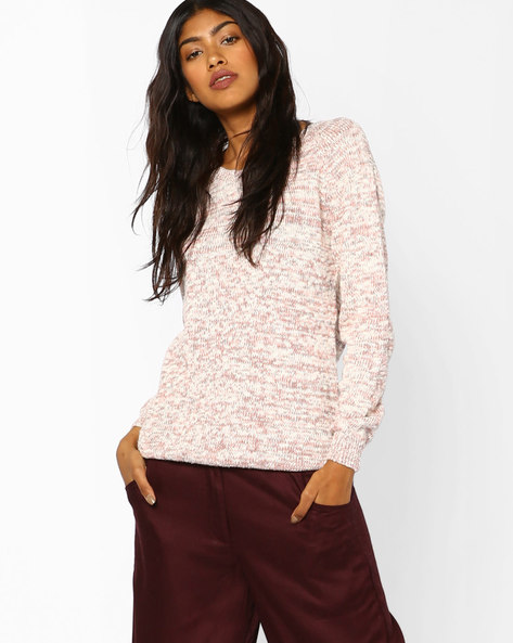 Pullover With Rib-Knit Trims By Fame Forever By Lifestyle ( Peach )