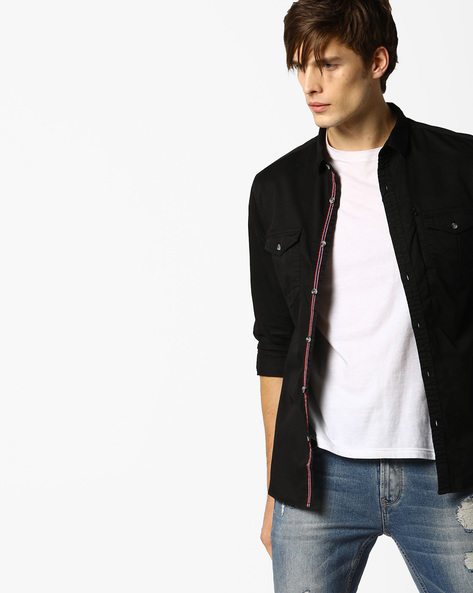 Shirt With Buttoned Flap Pockets By AJIO ( Black )