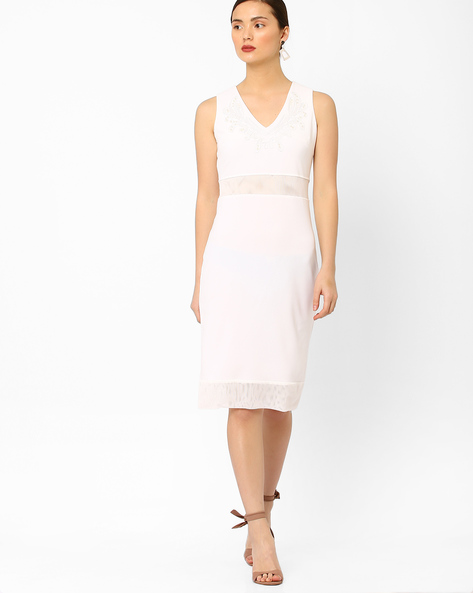 Sleeveless Sheath Dress With Embroidery By AJIO ( White )