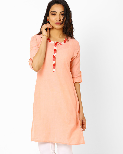 Kurta With Roll-Up Tabs By AJIO ( Pink )