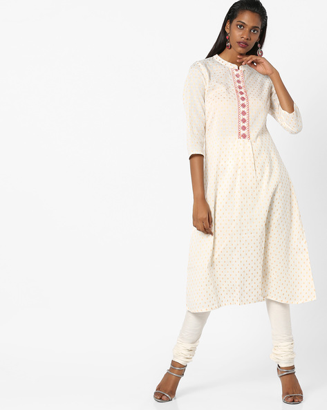 A-line Kurta With Mandarin Collar By AJIO ( Offwhite )