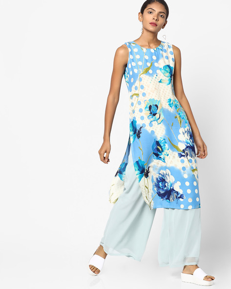 Peony Floral Print Sleeveless Kurta By SOCH ( Royalblue )