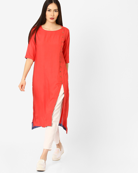 High-Low Kurta With Mock Button Placket By AJIO ( Coral )