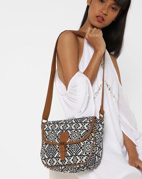 Jacquard Weave Sling Bag By Kanvas Katha ( Tan ) - 460124257001